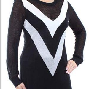 INC Colorblock Chevron Tunic Black Medium Sweater